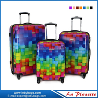 3 pcs set blue sky travel luggage, cheap luggage bags abs luggage with pc printing