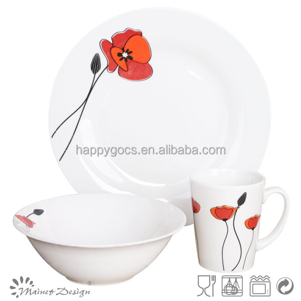 Adorable LOTUS flower tableware Porcelain with decal decoration,Dinner set with 12pcs