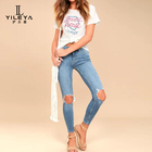 2017 new fashion oem customize ladies ripped jeans,fashion jeans for girl 2017,high waisted ripped jeans