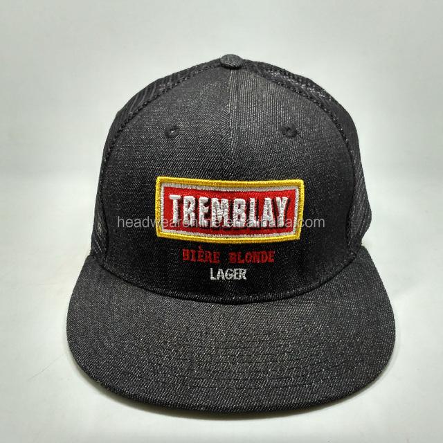 2016 custom flat embroidery cowboy mesh truck cap hat snapback hat custom 6 panels