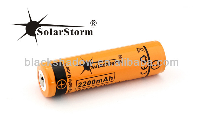 Solarstorm 2200mah 18650 lithium ion rechargeable battery