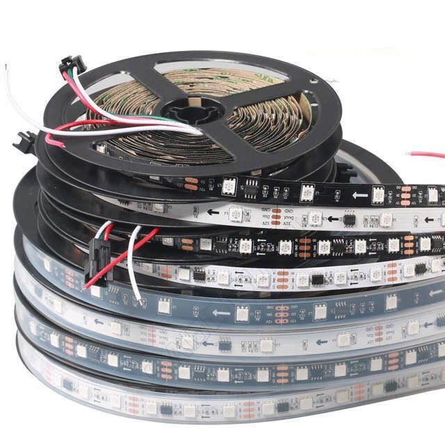 1M with 60led Full Color WS2811 LED Strip DC12V Black / White PCB <strong>RGB</strong> Smart Pixel control Led Strip