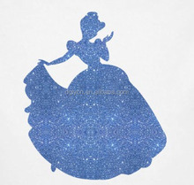 Made in China iron on heat transfer vinyl cartoon character glitter princess