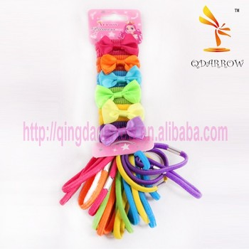 Colorful little girls gifts elastic hair band bow hair band