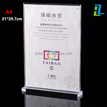 Factory clear acrylic poster hotel restaurant menu display stand / custom desk 11 x 17 acrylic sign holder