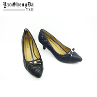 Black Bow Pointed Toes Pu Leather