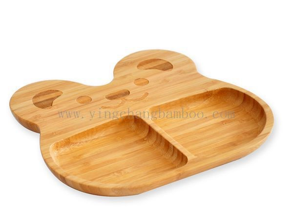 bamboo baby plate with silicone suction