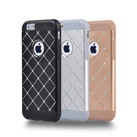 Luxury Metal Rhinestone phone cases for iphone 5 5s 6 6s 6plus 6splus with Grid diamond cell phone phone back covers