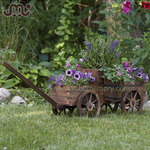 Old time rustic 4 wheels wooden flower display cart