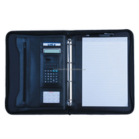 Promotional gifts ring binders portfolio zipper folder leather