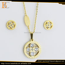 imitation jewellery making round shape rhineatone crystal jewelry set with necklace and earrings