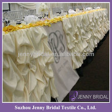 TS001A Ruffled white table skirting,table skirts