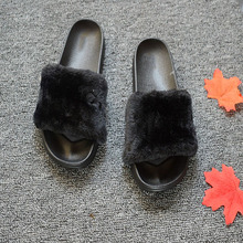 wholesale custom made cheap lady faux fur slippers
