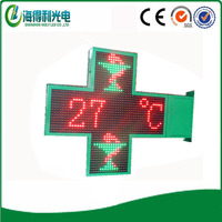 Hidly brand shenzhen IP65 led pharmacy cross sign board with time text xxx video