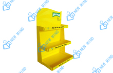 yellow 3 layer green tea carboard display stand rack for retail store