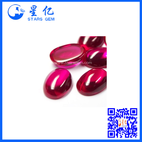 oval shape cabochon synthetic ruby corundum