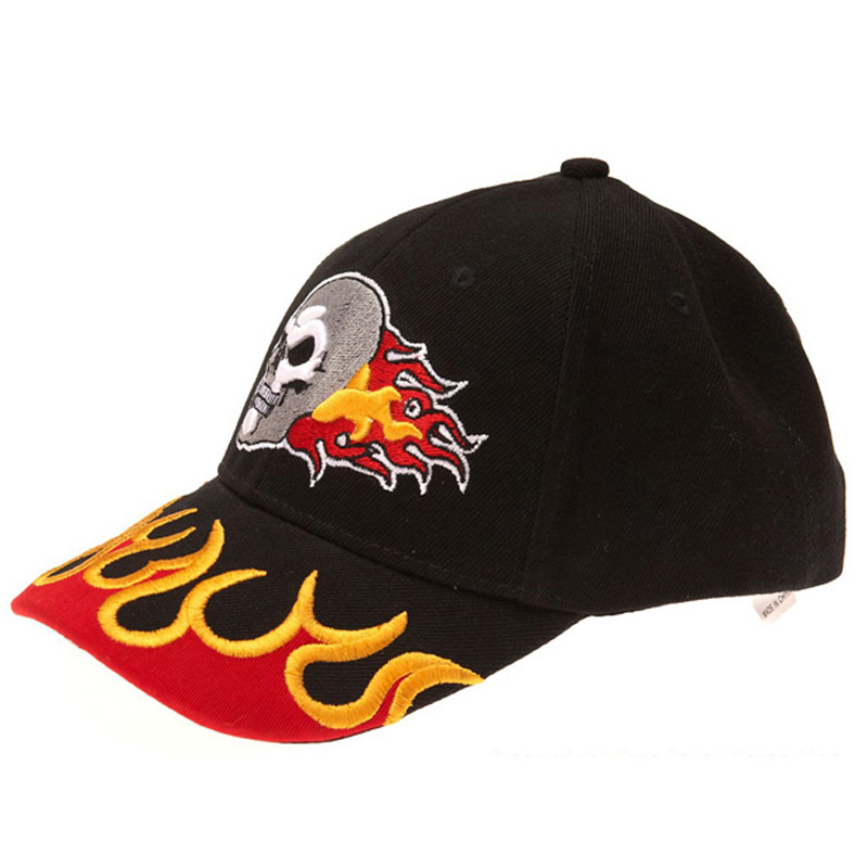 2017 New design embroidery skull flame snapback cotton baseball cap hat