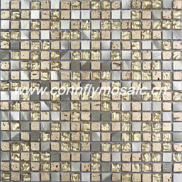 Luxury Color Gold Crystal Travertine and Glass Mosaic