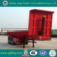 China manufacturer cheap price 3 axles hydraulic tractor dump semi trailer / container tipping trailer