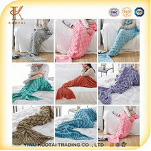 Adult New Style Mermaid Tail Blanket Knit TV Sofa Blanket Snuggie Mermaid Blanket