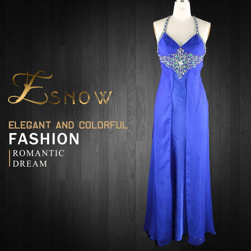2016 Wholesale Sexy Halter Beaded Back Cross Evening Dress for Ladies