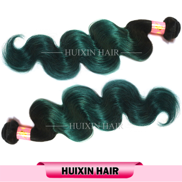 7A New arrival 1b/green three tone ombre color brazilian human hair weaves