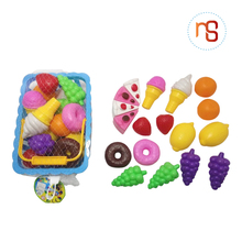 High quality educational food toy game plastic fruit basket for kids