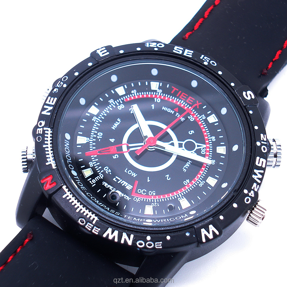 Sporty design black watch hidden camera with water resistance microphone 4GB built-in memorty hand watch camera