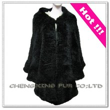CX-B-43 Women Knitted Rabbit Fur Poncho Fashion Real Fur Capes Shawls