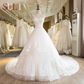 SL-25 New Sweetheart Chapel Train Lace up Pearls Wedding Dress 2017