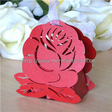 2013 new products! laser cut wedding favor boxes with artificial rose flower