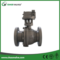 Split body cast steel 2pc floating flanged ends ball valve