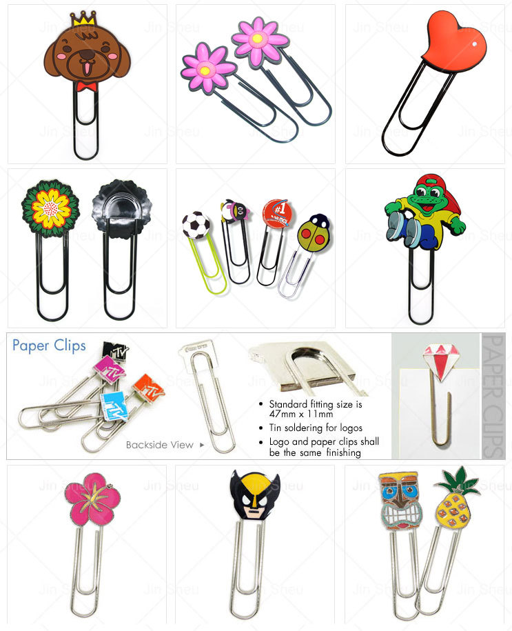 Custom Soft PVC Rubber Logo Cute Promotional Jumbo Paper Clips