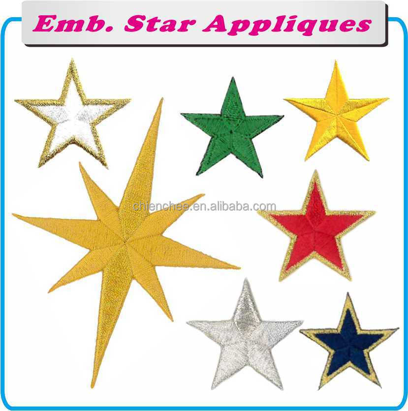 Embroidery Appliques - Self Adhesive Colorful Stars for Christmas Ornament (Patch/Emblem/Badge/Label/Crest/Insignia)