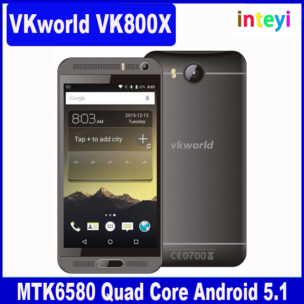 "Original VKworld VK800X Mt6580 Quad Core 5"" 960x540 QHD IPS Android 5.1 Cellphone 1GB RAM 8GB ROM 8MP Camera WCDMA Smartphone"