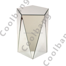 Coolbang CBM046 mirrored pedestal triangle lighted end table