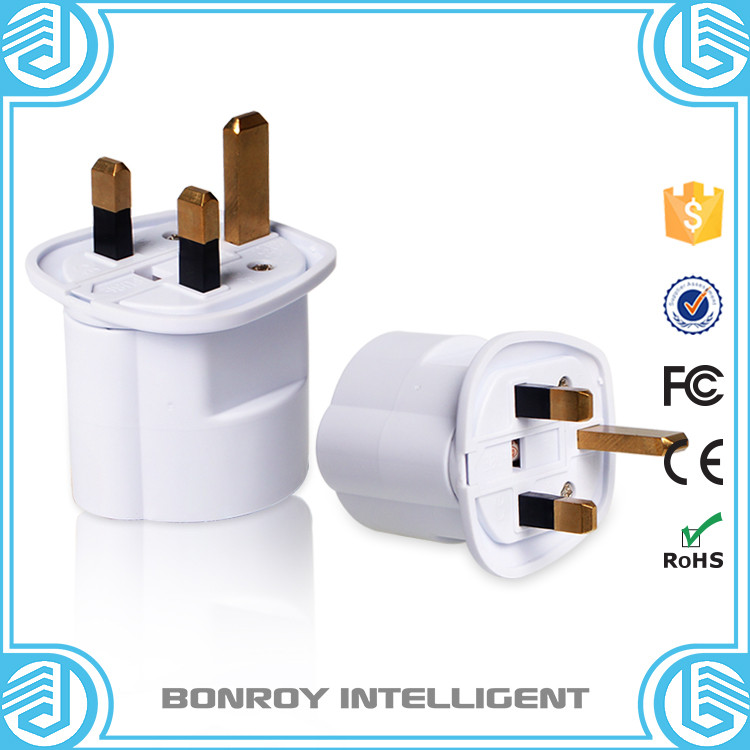 Universal 2 round pin to 3 flat pin plug Travel AC Outlet Adapter