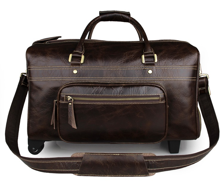 7317C J.M.D Coffee Genuine Leather High Quality Trolley Bag Wheels Bag For <strong>Travelling</strong>