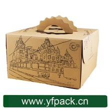 Custom Brown Kraft/Favor/Lunch/Picnic Take Out Cake Box with Handle