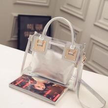 Hot sales travelling beach casual fashion single shoulder portable crossbody plastic transparent lady shopping bag