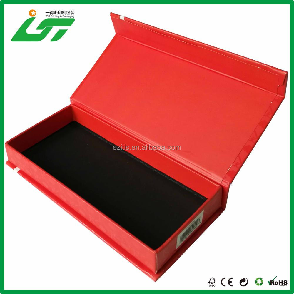 book style and black printing kraft paper magnetic closure business card box