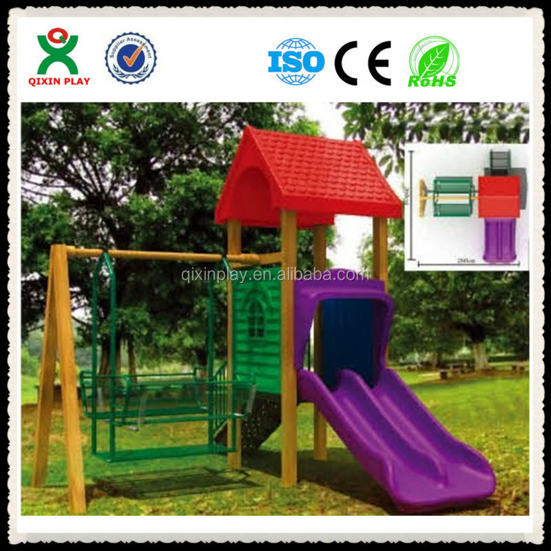 Latest design kids swings wood garden swings wooden outdoor playsets made in china QX-11054D
