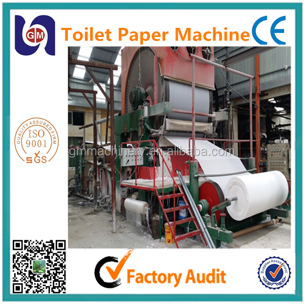 2400mm toilet tissue paper making machine from waste paper,wheat straw,sugar cane and cotton