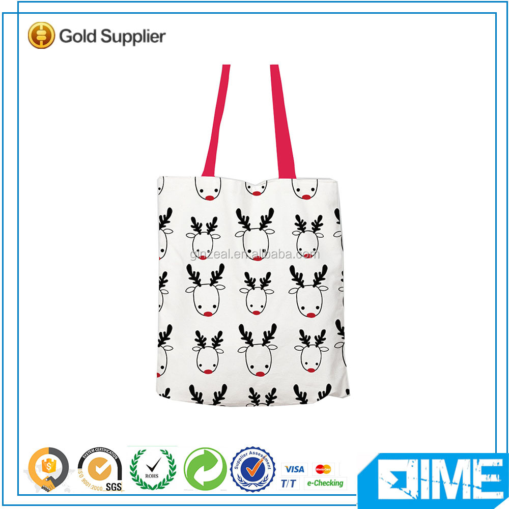 New Fashion Printing Online Shopping Bag Canvas Rope Handle Beach Bag