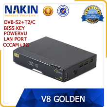 Original strong hd satellite receiver V8 Golden combo dvb-s2+t2+cable biss key powervu iptv