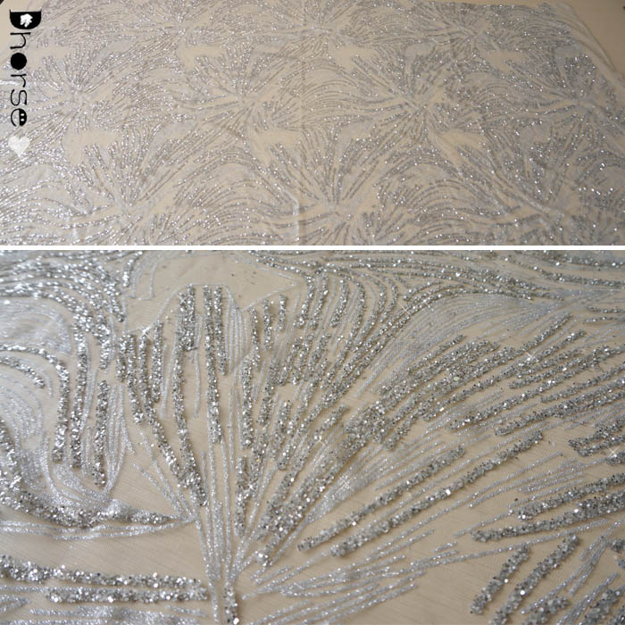 Wholesale sparkling silver sequined tulle lace glitter fabric for curtains