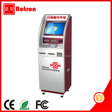 Anti Vandalism outdoor touch screen Cash acceptor telecom top up kiosk with RFID card reader