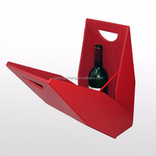 Red paperboard wine packaging box for single bottle wine paper box in the shape of bag with handle