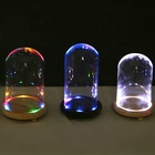 Wholesale diameter 9cm remote control led light glass cloche dome bell jar with wooden base