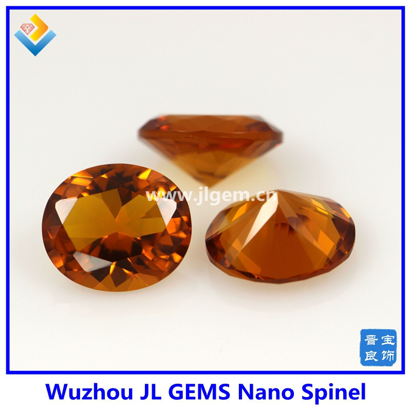 top quality Synthetic oval cut Citrine Color Nano Spinel gemstone